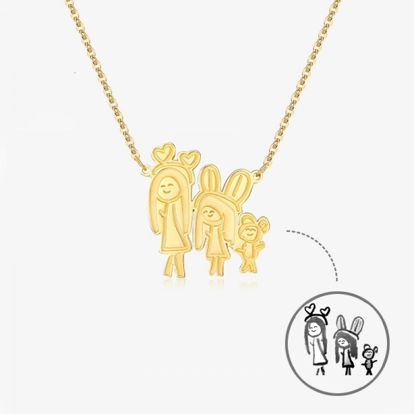 Personalized Yellow Custom Children's Drawing Photo Engraved Necklace