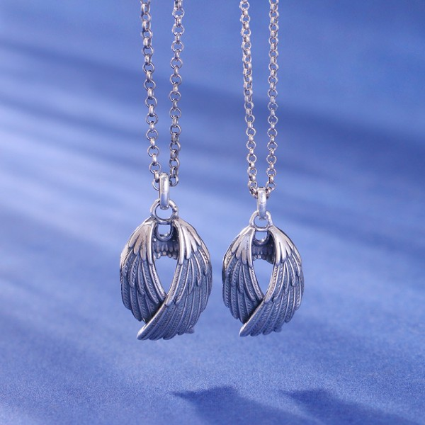 Personalized Angel Wings Matching Necklaces In Sterling Silver