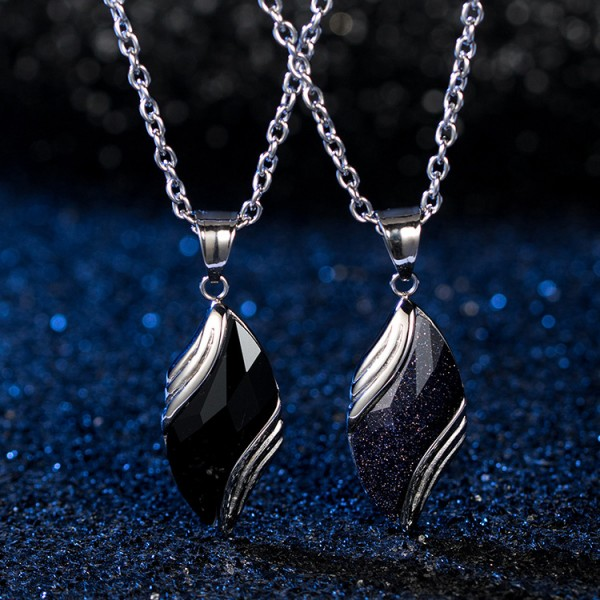 Engravable Angel Tears Matching Pendant Necklaces For Couples In Titanium