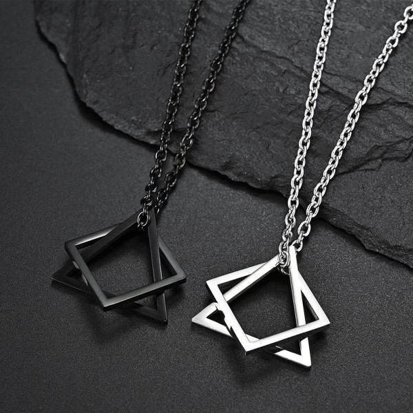 Simple Geometric Necklaces For Couples In Titanium