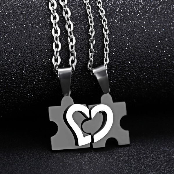 Building Blocks Matching Heart Necklaces For Couples In Titanium