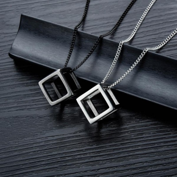 Personalized Rubik's Cube Necklaces For Couples In Titanium
