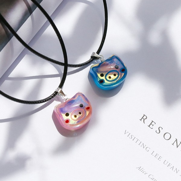 Cute Red And Blue Pig Resin Necklaces For Couples