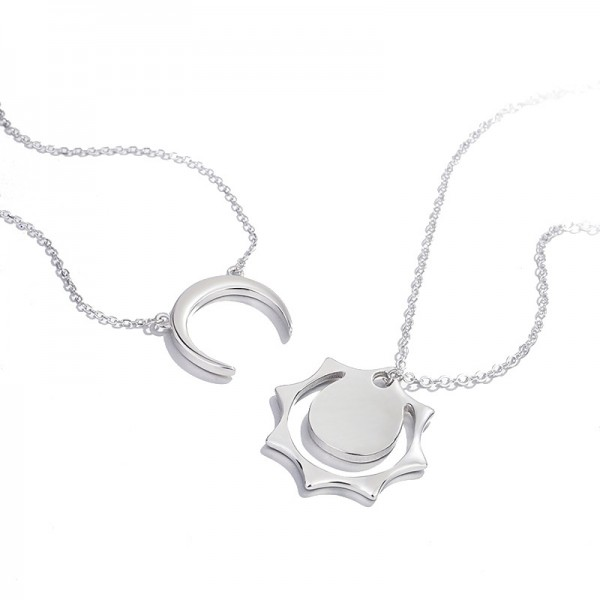 Personalized Sun And Moon Necklaces For Couples In Sterling Silver