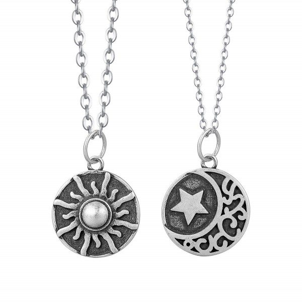 Personalized Sun And Moon Matching Necklaces Set In Sterling Silver