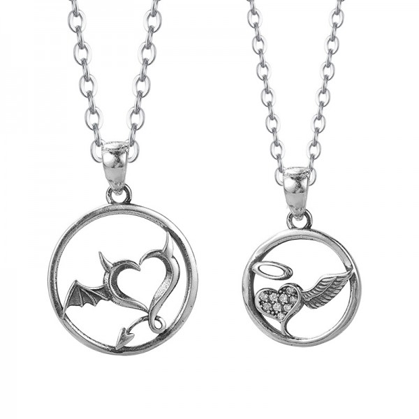 Personalized Angel And Devil Matching Necklaces Set In Sterling Silver
