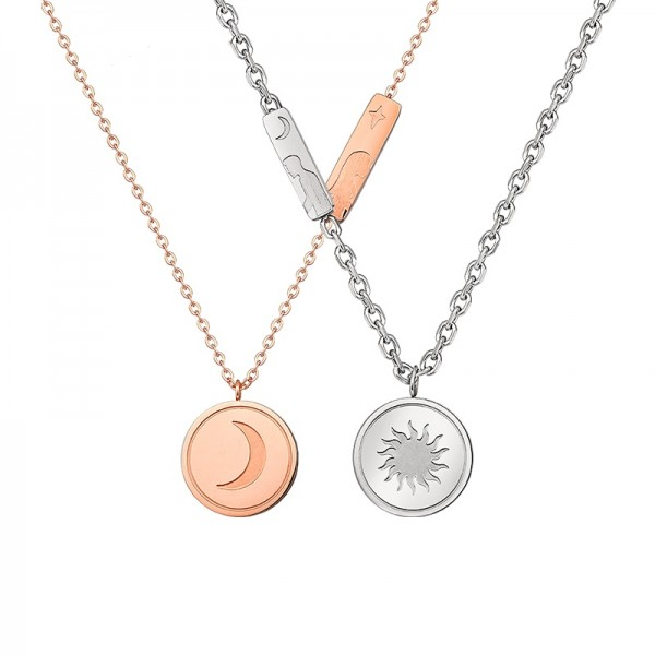 Personalized Sun And Moon Matching Necklaces Set In Titanium