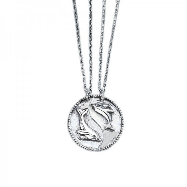 Engravable Cute Matching Dolphin Necklaces In Sterling Silver