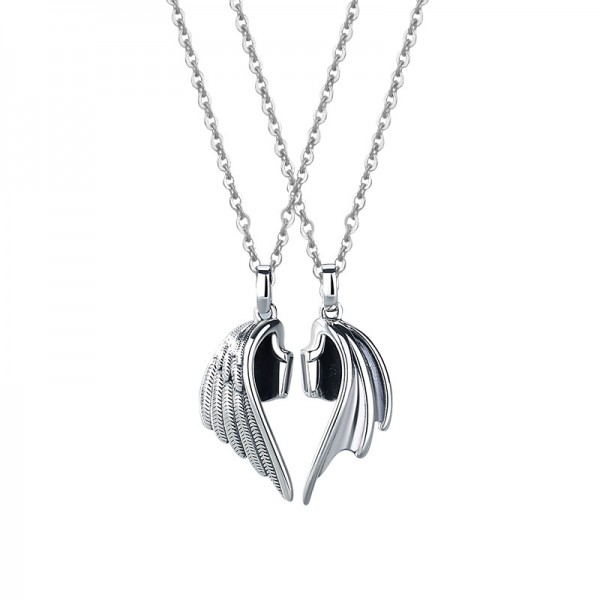 Angel And Demon Wings Matching Necklaces Set In Sterling Silver