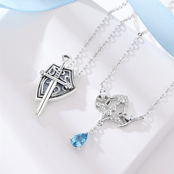 Princess And Knight Matching Necklaces Set In Sterling Silver