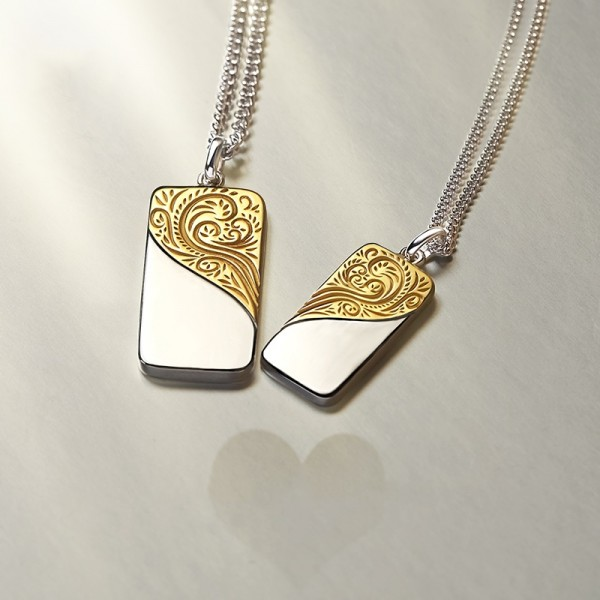 Engravable Matching Heart Necklaces Set In Sterling Silver Plated Gold