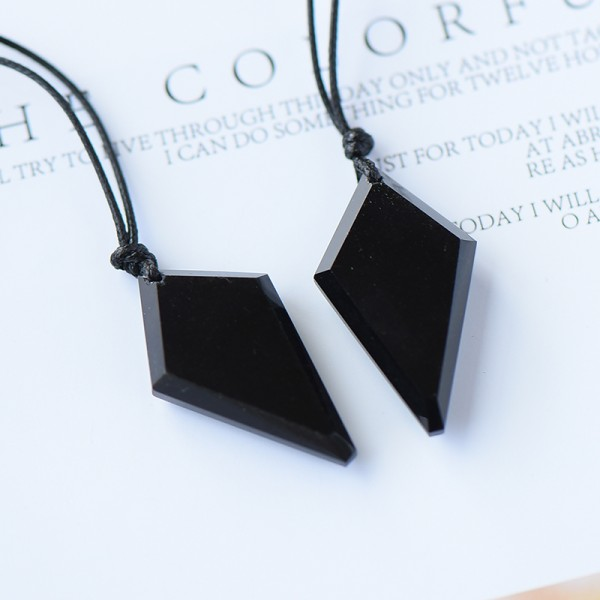 Engravable Black Matching Heart Necklaces For Couples In Obsidian