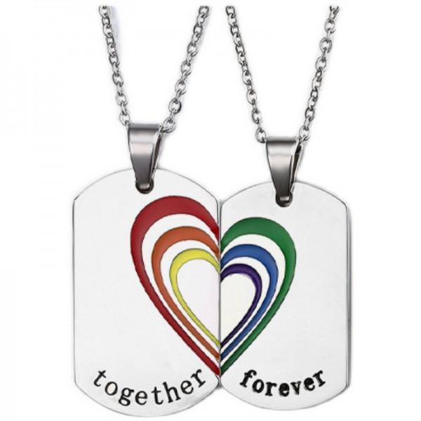 Engravable Matching Heart Rainbow Necklaces Set In Titanium