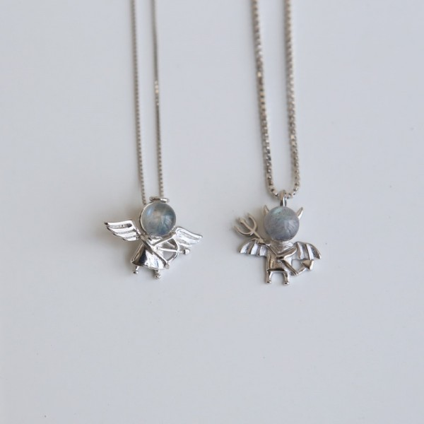 Personalized Angels And Demons Matching Necklaces In Sterling Silver