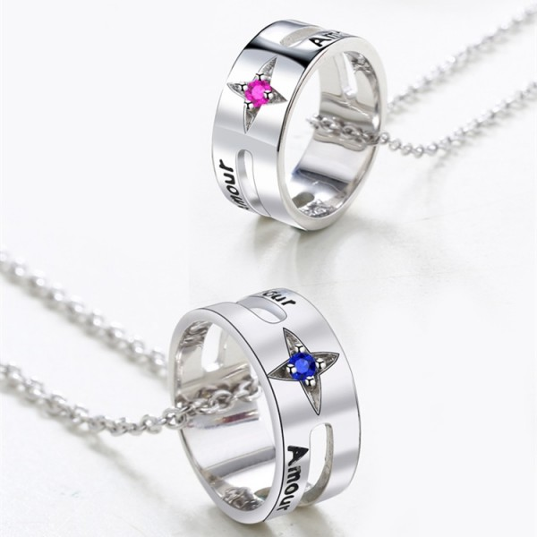 Engravable Amour Matching Ring Necklaces Set In Sterling Silver