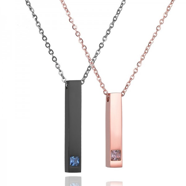 Engravable Black And Rose Matching Bar Necklaces Set In Titanium