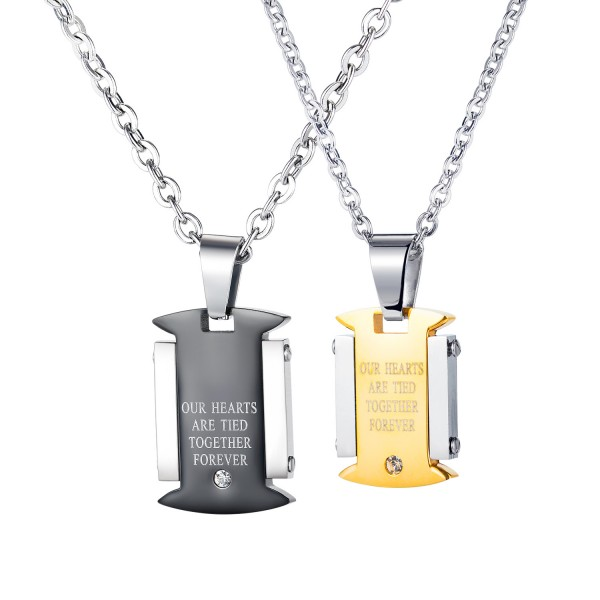 Our Hearts Are Tied Together Forever Matching Necklaces In Titanium