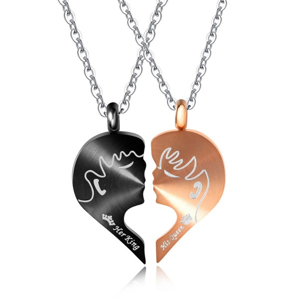 King And Queen Attract Matching Heart Couples Necklaces In Titanium