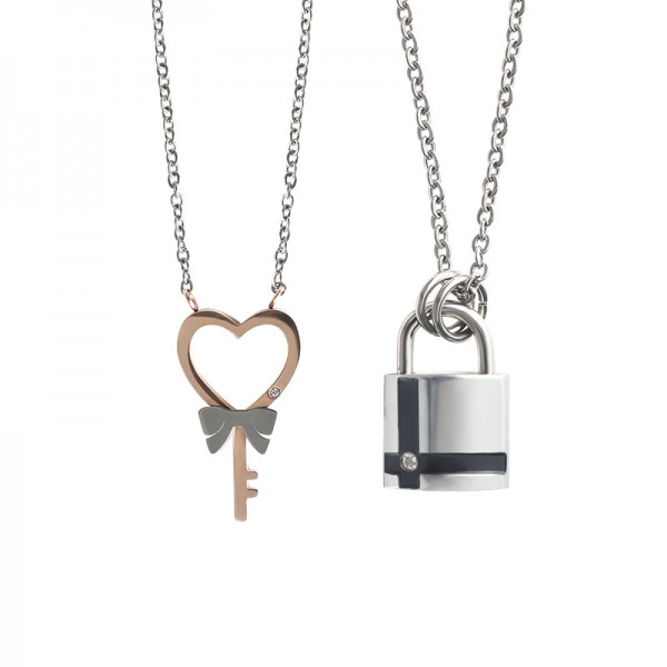 Personalized Lock And Key Couples Necklaces In Titanium