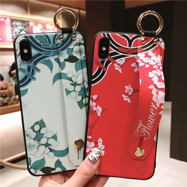 Blue And Red Flower iPhone Cases For Couples In Silicone
