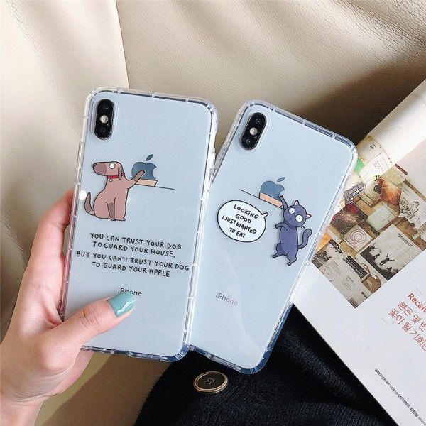 Cute Dog And Cat White iPhone Cases For Couples In TPU