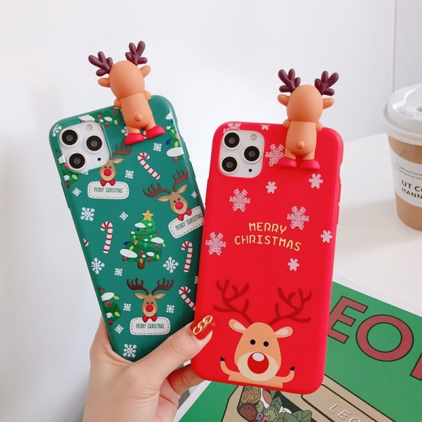 Cute Christmas Elk iPhone Cases For Couples In TPU