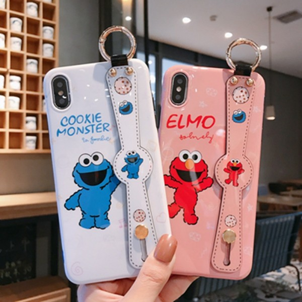 Elmo And Cookie Monster iPhone Cases With Stand In TPU