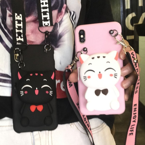 Couple's iPhone Cases With Cute Cat Shape Wallet In TPU