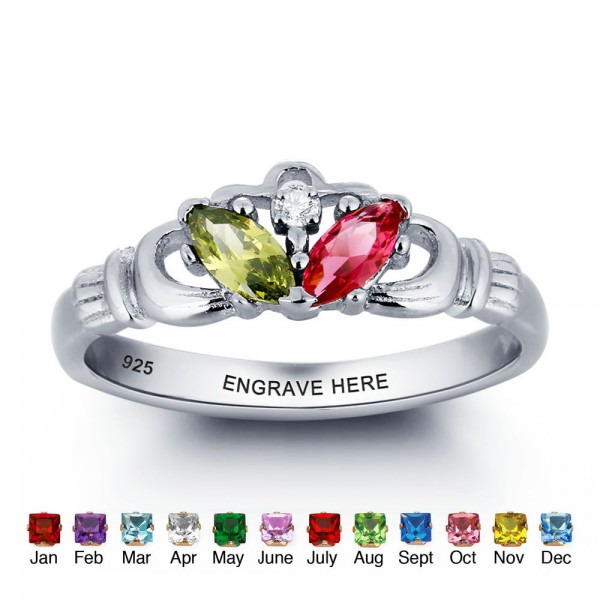 Affordable Silver Claddagh Marquise Cut 2 Stones Birthstone Ring In 925 Sterling Silver