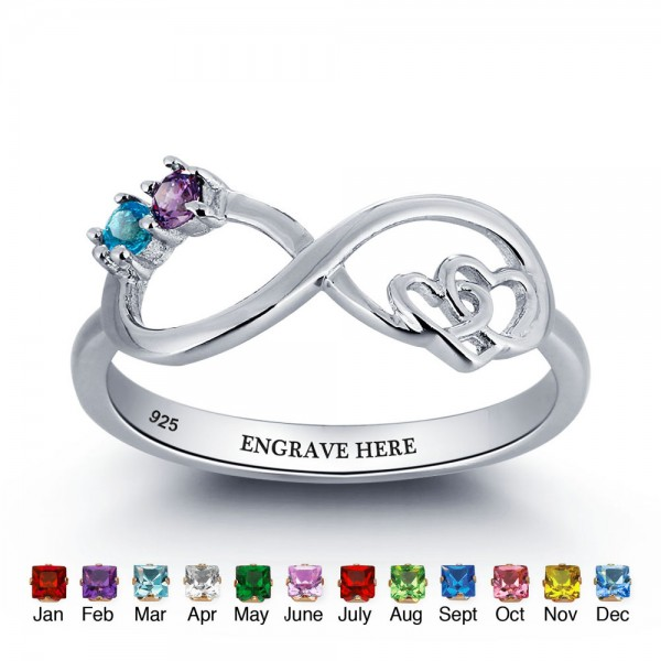 Affordable Silver Infinity Round Cut 2 Stones Birthstone Ring In 925 Sterling Silver