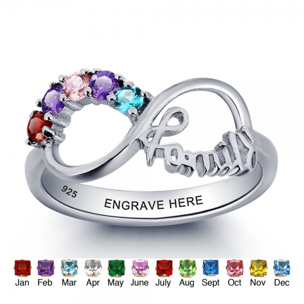 Engravable Silver Family Round Cut 5 Stones Birthstone Ring In 925 Sterling Silver