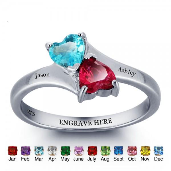 Engravable Silver Love Heart Cut 2 Stones Birthstone Ring