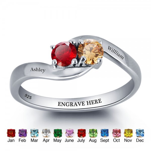 Affordable Silver Love Round Cut 2 Stones Birthstone Ring In 925 Sterling Silver