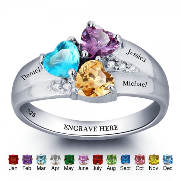 Unique Silver Family Heart Cut 3 Stones Birthstone Ring In 925 Sterling Silver
