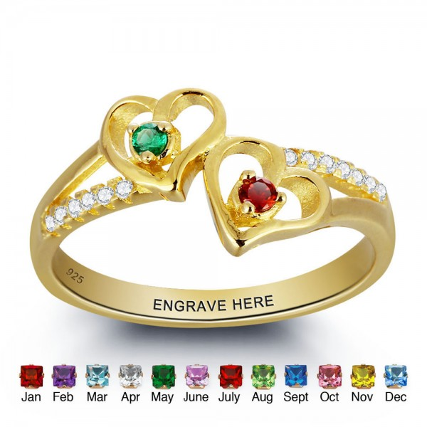 Fashion Yellow Heart Round Cut 2 Stones Birthstone Ring In S925 Sterling Silver