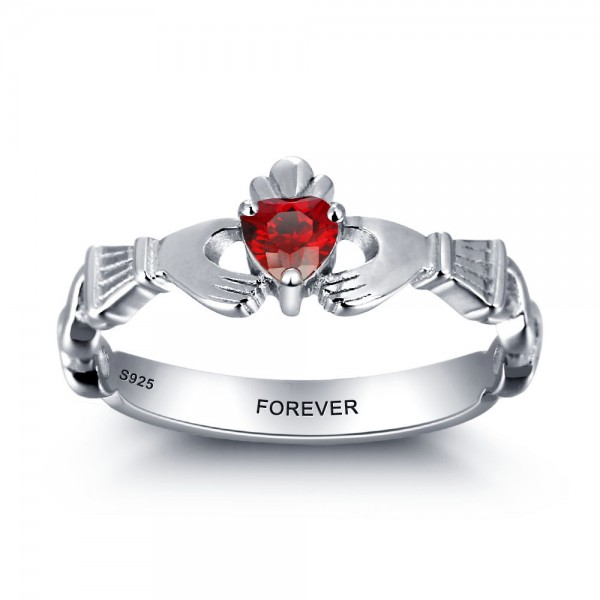 Personalized Silver Claddagh Heart Cut 1 Stone Birthstone Ring In 925 Sterling Silver