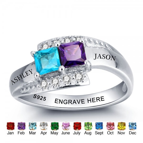 Unique Silver Love Princess Cut 2 Stones Birthstone Ring In 925 Sterling Silver