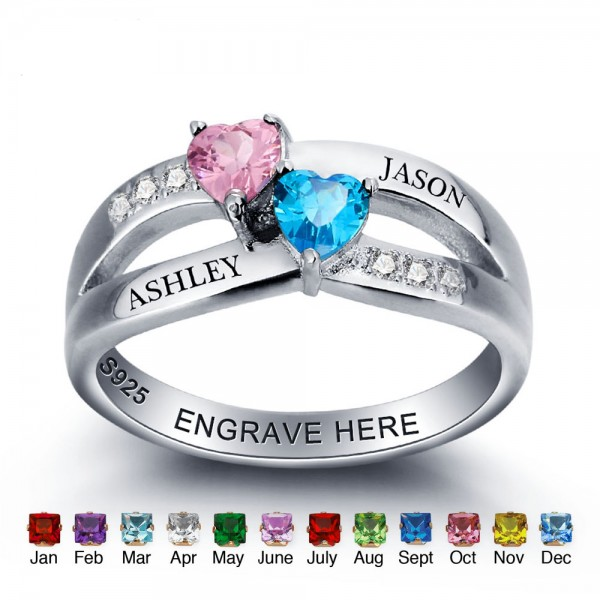 Fashion Silver Love Heart Cut 2 Stones Birthstone Ring In S925 Sterling Silver