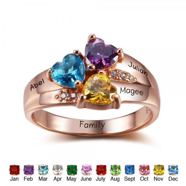 Fashion Rose Family Heart Cut 3 Stones Birthstone Ring In S925 Sterling Silver