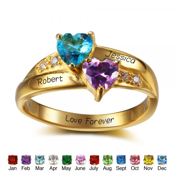 Customized Yellow Love Heart Cut 2 Stones Birthstone Ring In S925 Sterling Silver