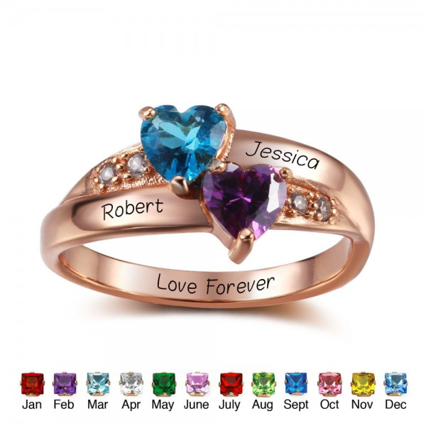 Unique Rose Love Heart Cut 2 Stones Birthstone Ring In Sterling Silver