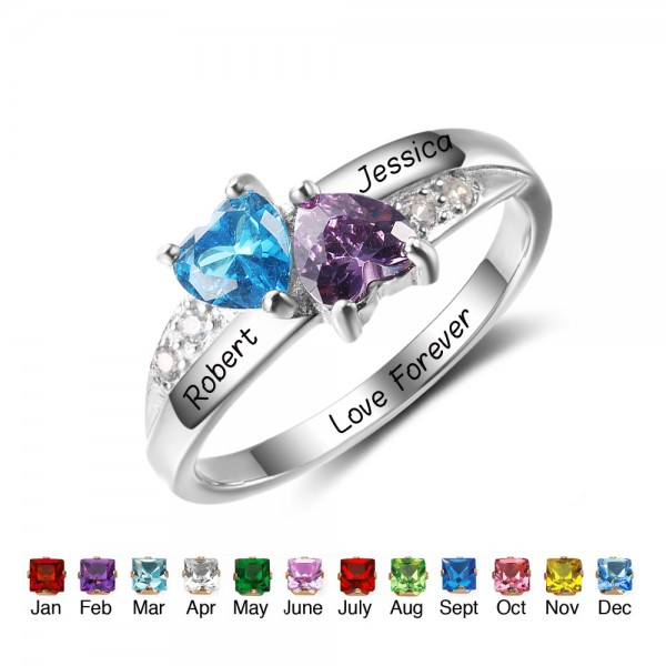 Fashion Silver Love Heart Cut 2 Stones Birthstone Ring In 925 Sterling Silver