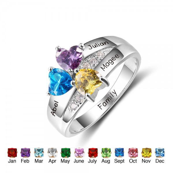 Affordable Silver Family Heart Cut 3 Stones Birthstone Ring In S925 Sterling Silver