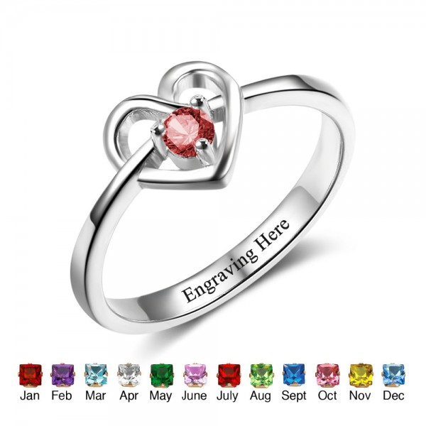 Unique Silver Heart Round Cut 1 Stone Birthstone Ring In Sterling Silver