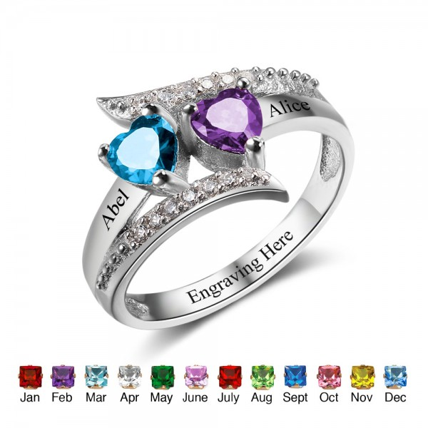 Unique Silver Symbols Heart Cut 2 Stones Birthstone Ring