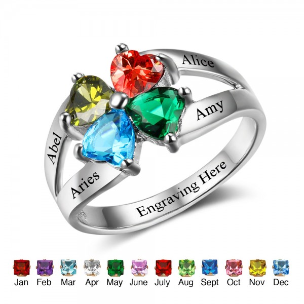 Personalized Silver Flowers Heart Cut 4 Stones Birthstone Ring In S925 Sterling Silver