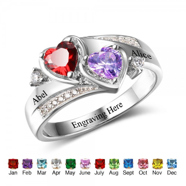 Unique Silver Heart Heart Cut 2 Stones Birthstone Ring In S925 Sterling Silver