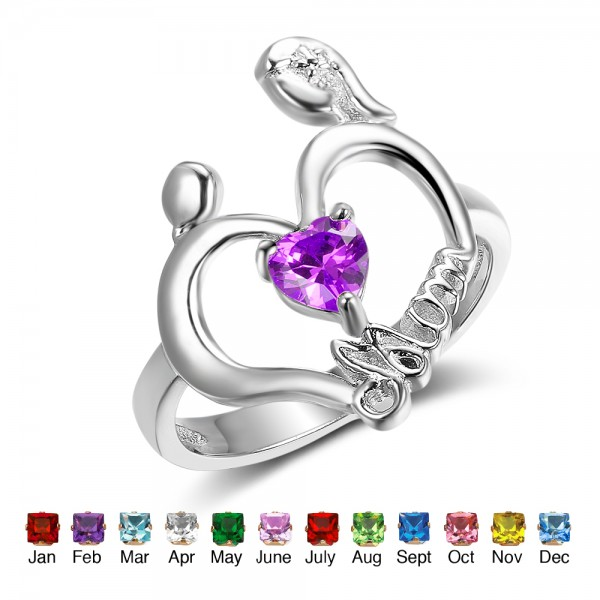 Customized Silver Family Heart Cut 1 Stone Birthstone Ring In S925 Sterling Silver