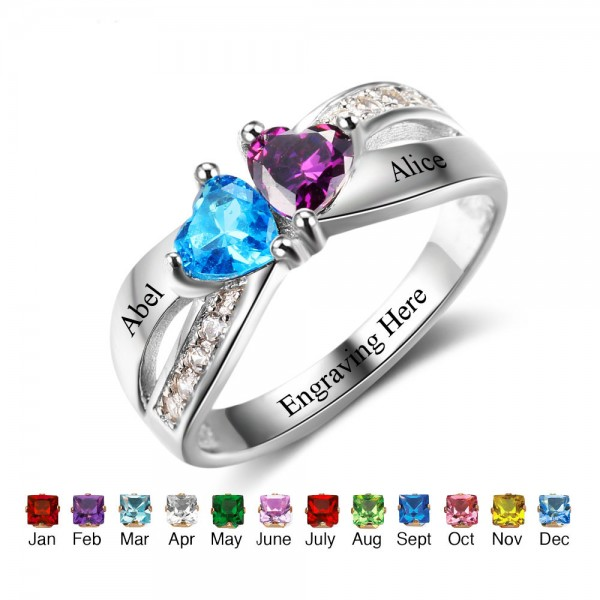Fashion Silver Symbols Heart Cut 2 Stones Birthstone Ring In 925 Sterling Silver