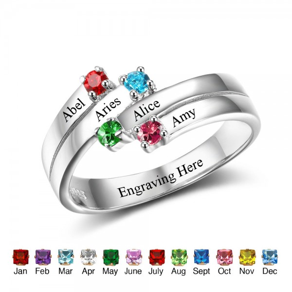 Engravable Silver Family Round Cut 4 Stones Birthstone Ring In Sterling Silver
